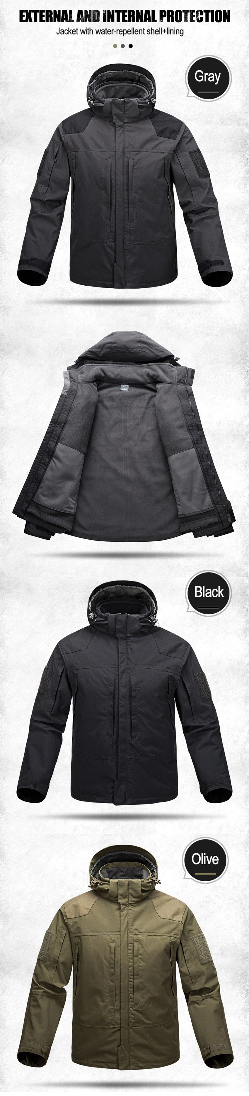 2-in-1 Waterproof Windproof Breathable Technical Tactical Jacket For Men - 3 Colors