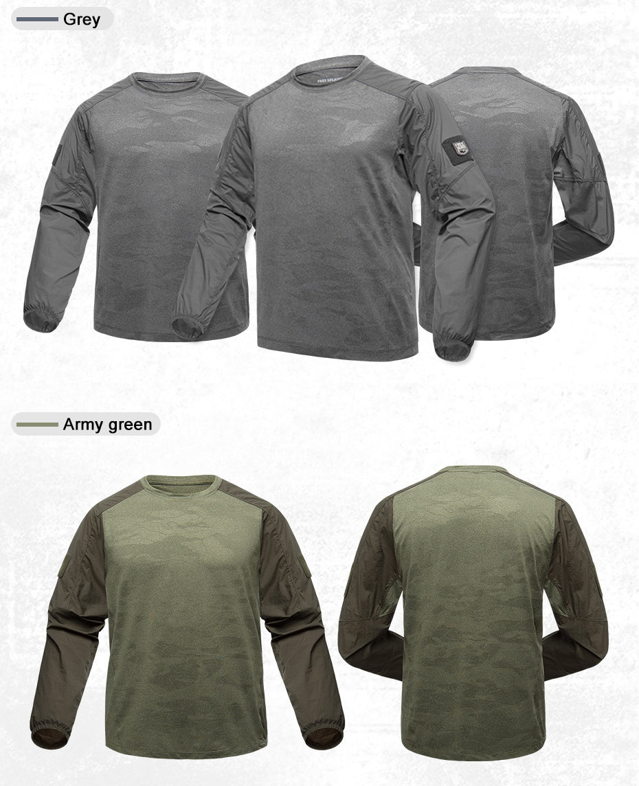 Men's Long Sleeve Breathable Quick Drying Tactical Sweatshirt - Army Green or Grey