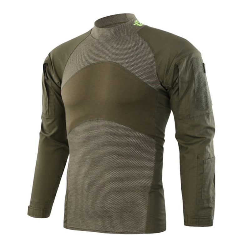 Men's Long Sleeve Tactical T-shirt Army Green Camouflage Combat T Shirts Military Shirt Airsoft Rip-stop Outwear - 5 Colors