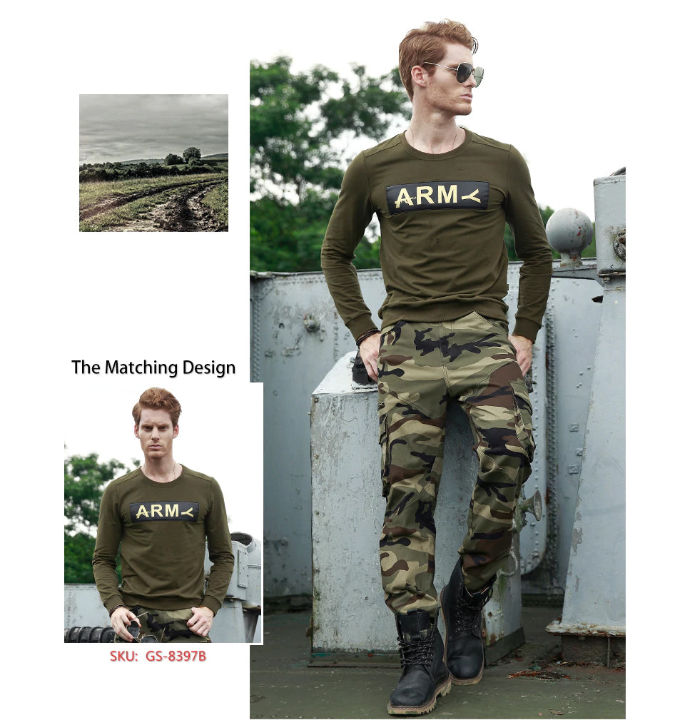 Men's Military Cargo Pants Multi-Pockets Military Style Casual Trousers Work Overalls Combat Camouflage Cargo Pants For Men