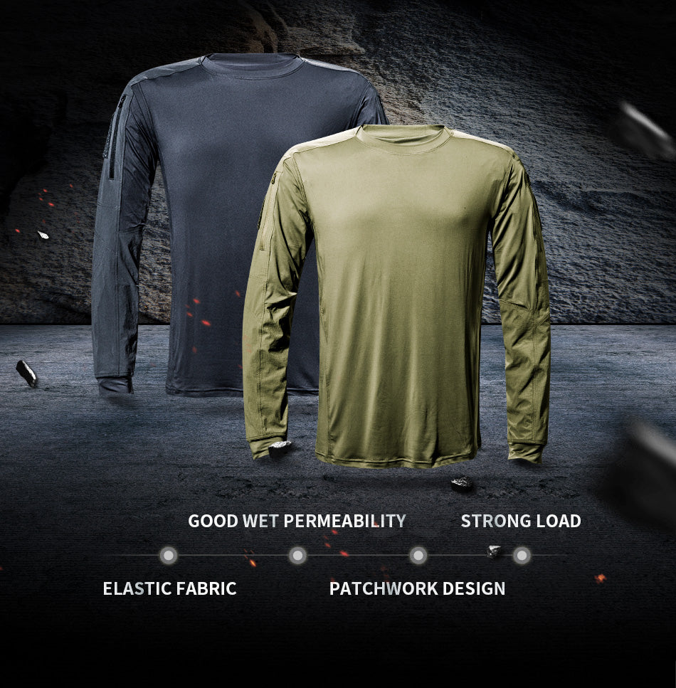 Men's Military Tactical Long Sleeve Shirt Lightweight 3 Season Quick Drying Technical Shirt For Tactical Trekking Hiking Outdoor Sports - Khaki or Grey
