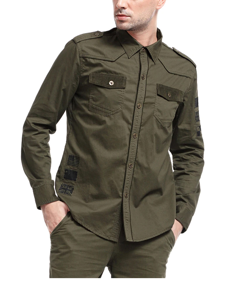 Men's Military Tactical Shirt Army Style Long Sleeve Cotton Shirt Tactical Clothing For Men - Available in Army Green and Camouflage