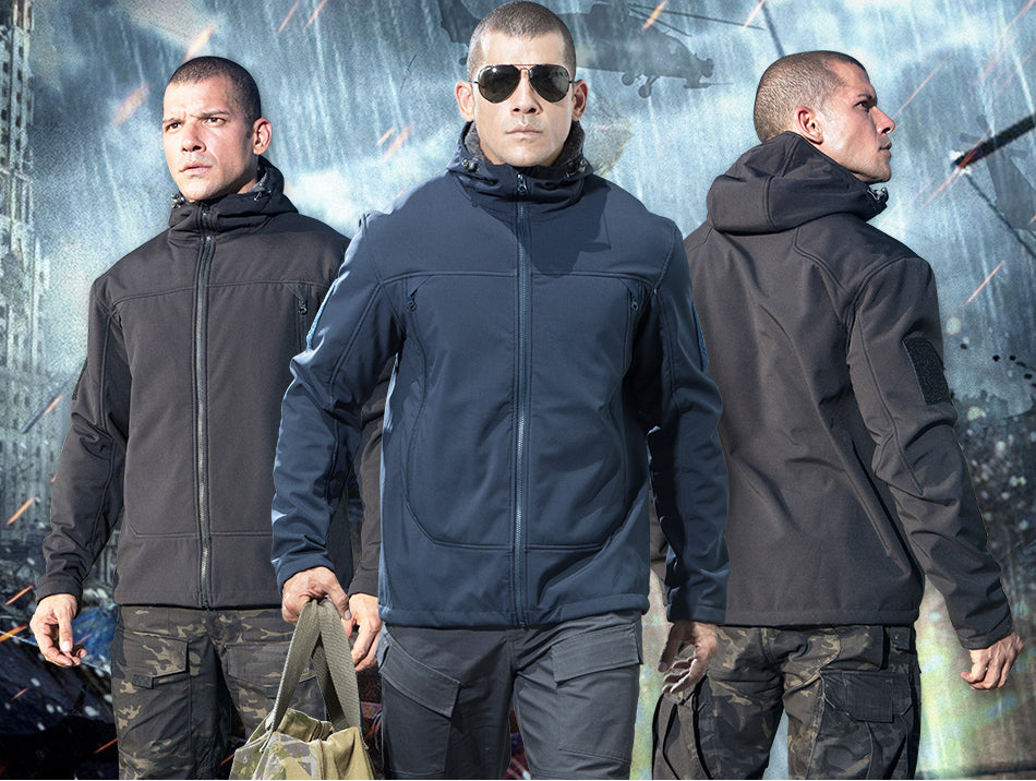 Tactical Softshell Jacket For Men With Hood And Warm Fleece Lining