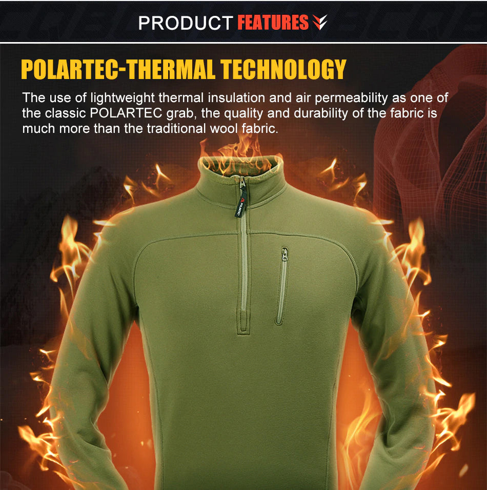 Men's Sports Tactical Polartec Lightweight Fleece Military Outdoor Sweatshirt Mid-Layer Thermal Clothing For Men - 3 Colors