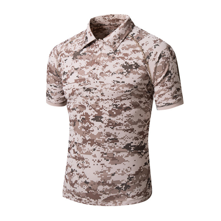 Men's Summer Quick Dry Tactical POLO T-Shirt Outdoor Sports Hiking Climbing Camping Short Sleeves - 7 Colors