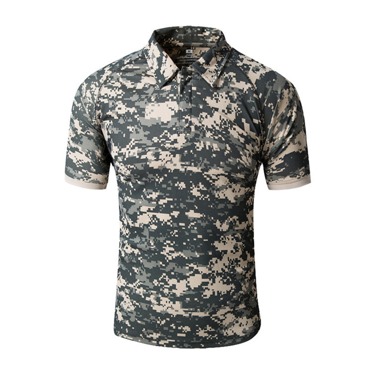 Men's Summer Quick Dry TACTICAL POLO T-Shirt For Outdoor Sports Anti-UV Hiking Climbing Camping Fishing Short Sleeves - Multiple Colors