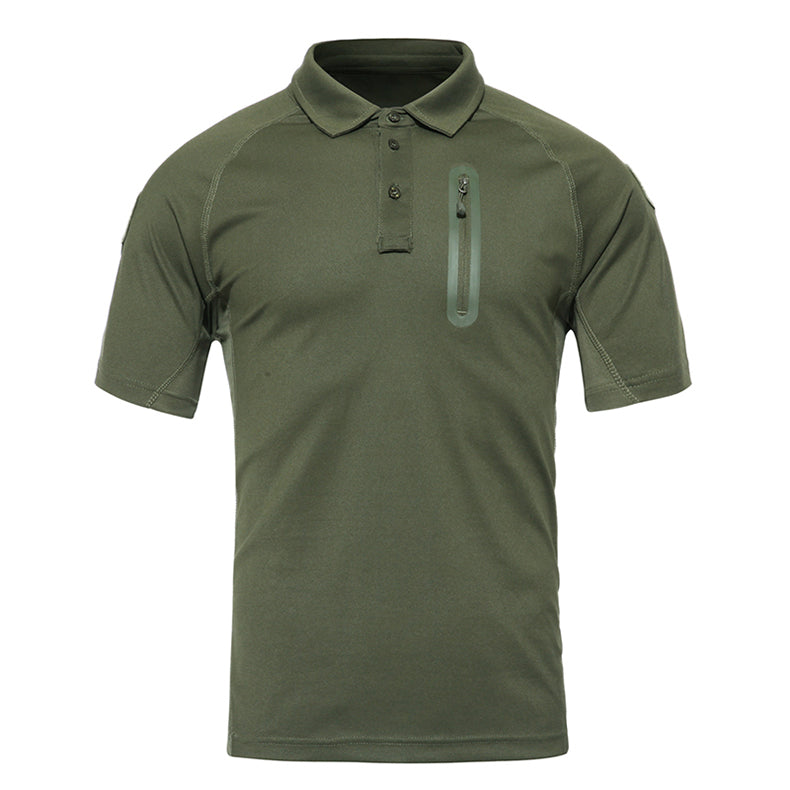 Men's Summer Tactical Combat Style T-Shirt Breathable Men's Military Style Quick Dry Polo Collar T-Shirt - 3 Colors