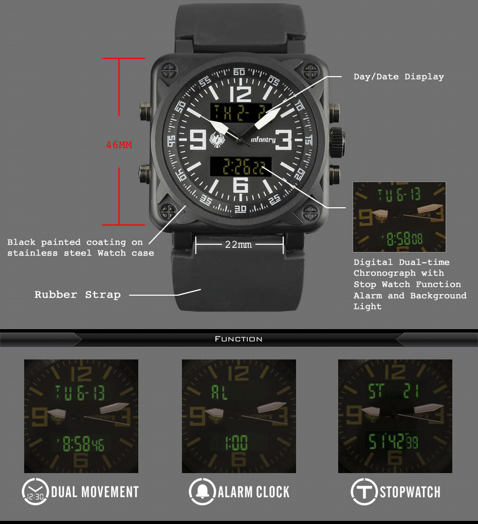 Men's Tactical Analog Digital INFANTRY Watch Square Face Military Design Wristwatch for Men Sport Tactical Watch - 4 Colors