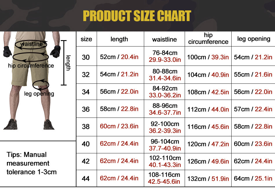 Men's Tactical Cargo Shorts Breathable Lightweight Summer Pants For Hiking, Trekking, Outdoor Activities - 3 Colors