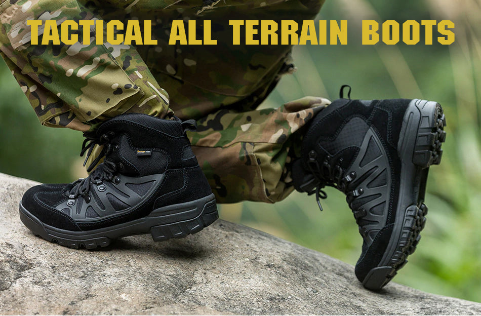 Men's Tactical Combat Desert Boots Breathable Leather All-Terrain Outdoor Hiking Trekking Shoes - 4 Colors