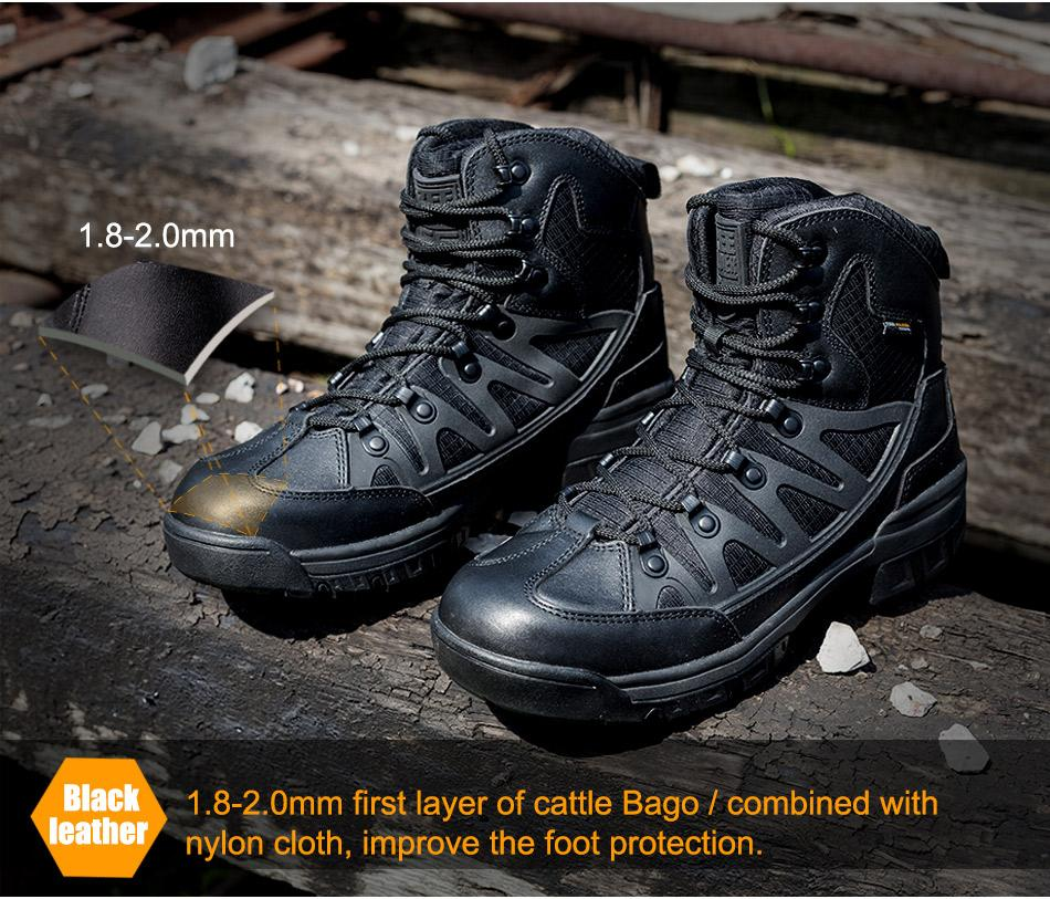 Men's Tactical Combat Desert Boots Breathable Leather All-Terrain Hiking Trekking Shoes - 4 Colors