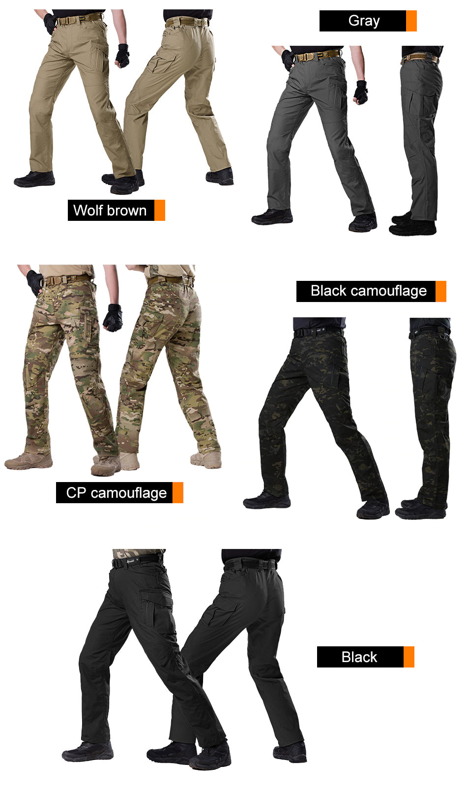 Men's Tactical Pants Military Combat Breathable Hiking Pants Multi Pocket Pant For Workwear Hiking Traveling Water Repellent - 5 Colors