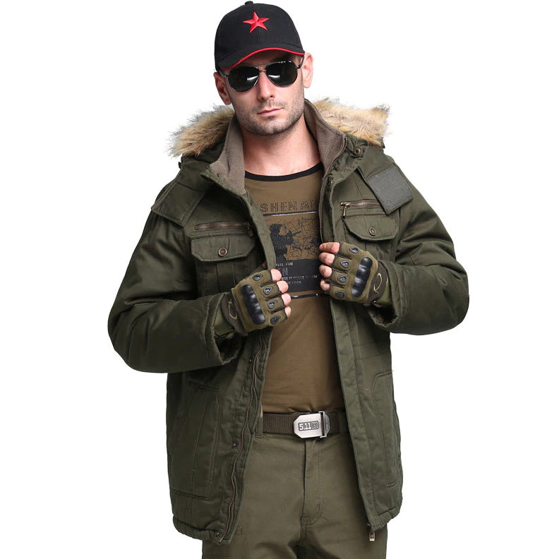 258690b4b Men's Winter Military Style Jacket Long Fur Hood Collar Plus Size Thick  Military Army Green Hooded Jacket Coat Parka Overcoat Large 4XL