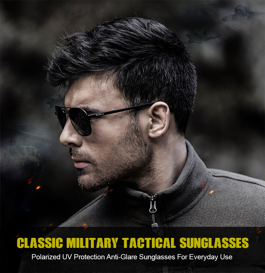 Mens Classic Tactical Style Polarized Military Sunglasses - Black