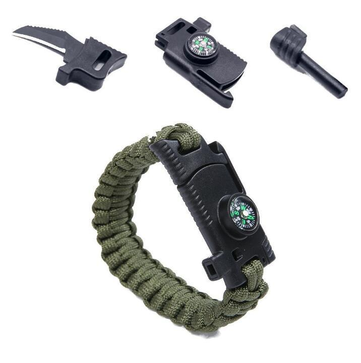 Military Outdoor Paracord Survival Bracelet Multi-Tool Compass Whistle Knife Firestarter Emergency Survival EDC Tool