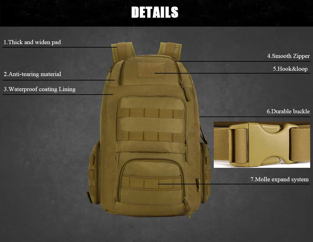 Military Tactical 40L Backpack Suitable For 15 Inches Laptop For Hunting, Hiking, Trekking, Fishing, Travel Daily Use - 5 Colors