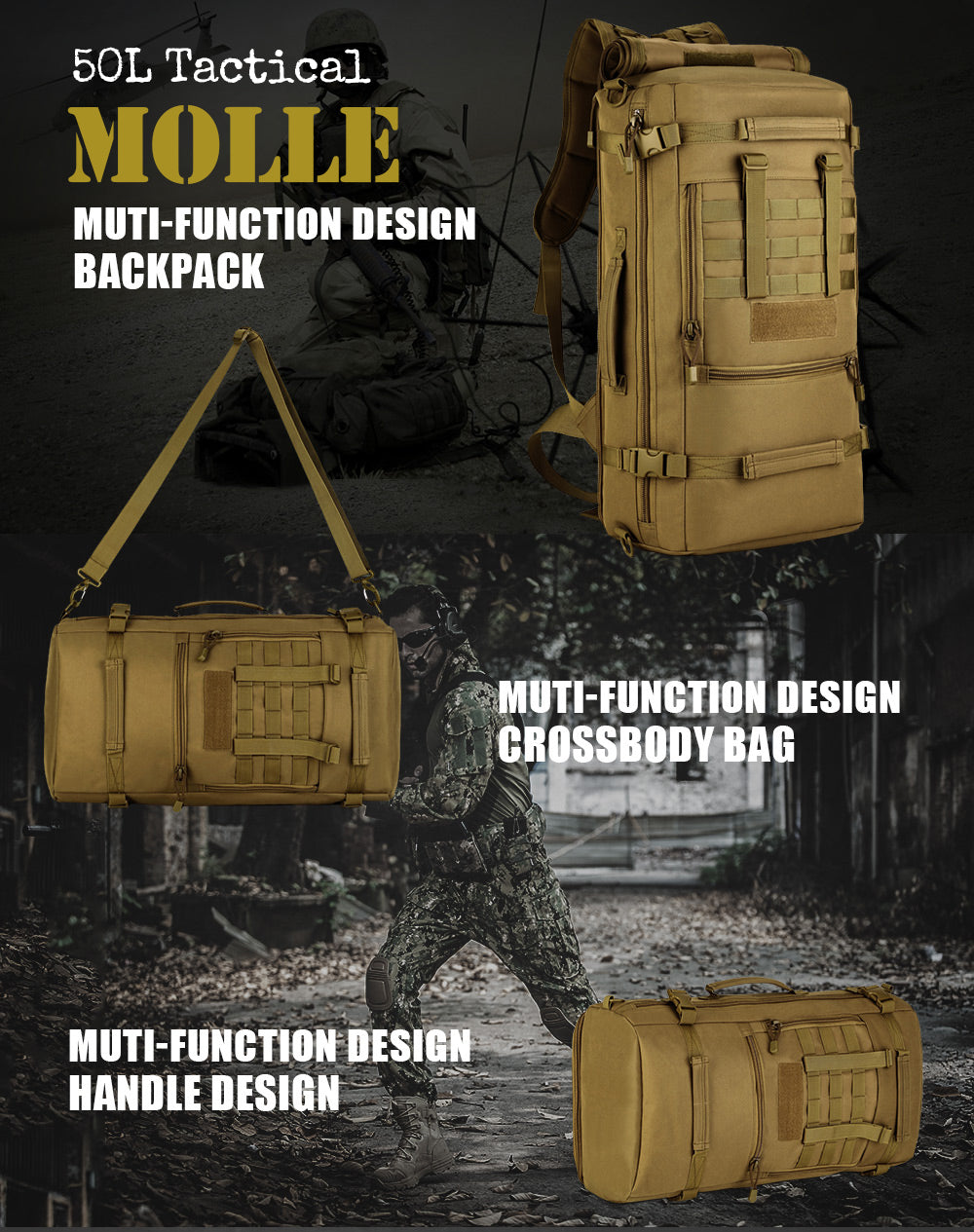 Military Tactical 50L Backpack Rucksack Multi-Function Crossbody Shoulder Bag For Hiking, Hunting, Trekking Travel - 5 Camo Colors