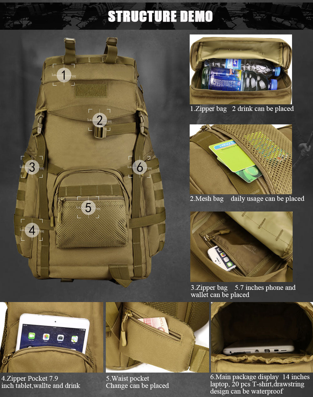 Military Tactical 60L MOLLE Backpack High Capacity Nylon Camouflage Rucksack For Hiking Hunting Trekking Travel - 5 Colors