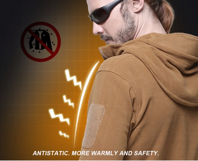 Military Tactical Fleece Jacket For Outdoor Sports Windproof Thermal Layer Windproof Coat for Hiking - 3 Colors
