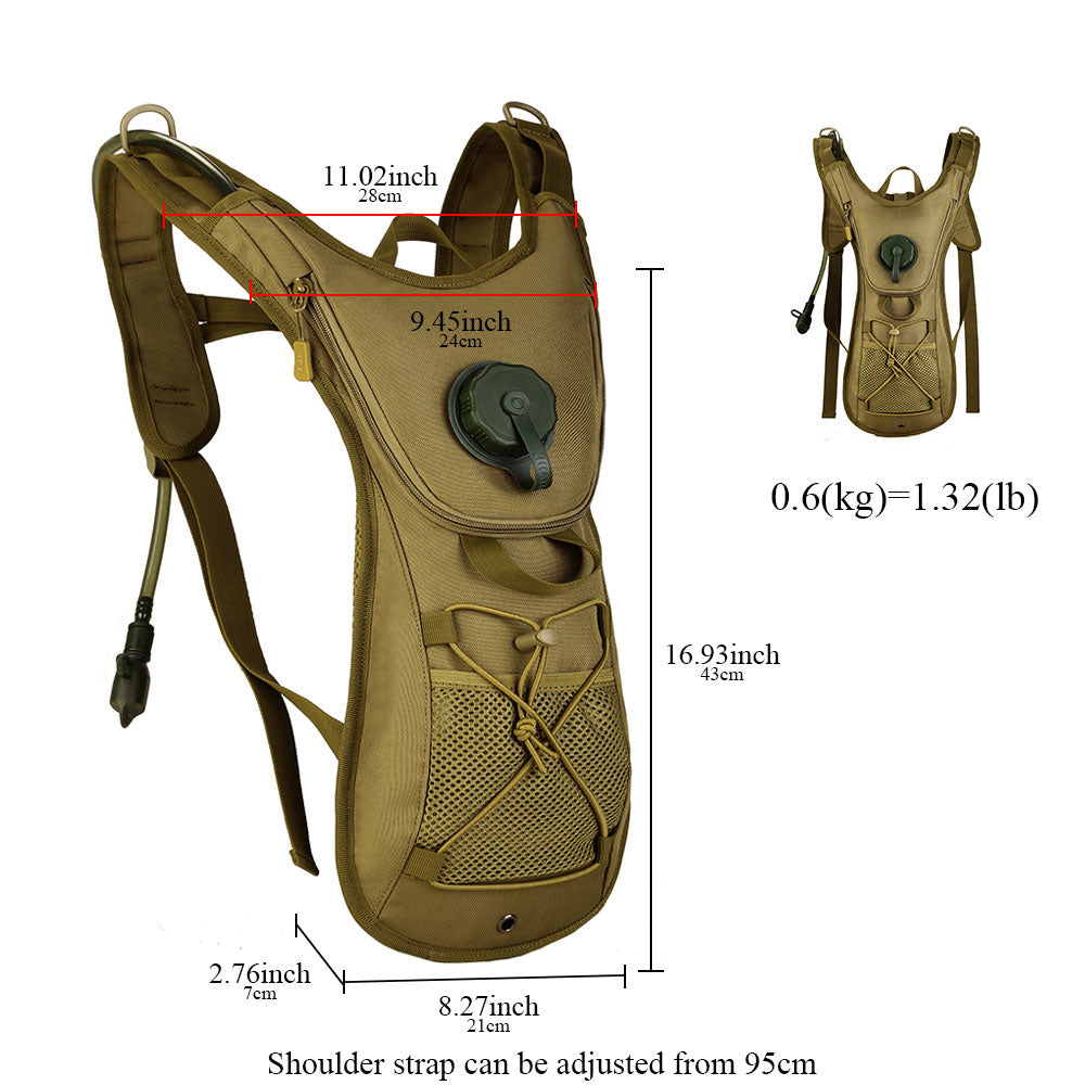 Military Tactical Hydration Backpack Water Bladder Rucksack Nylon Portable Running Cycling Hiking Trekking - 5 Colors