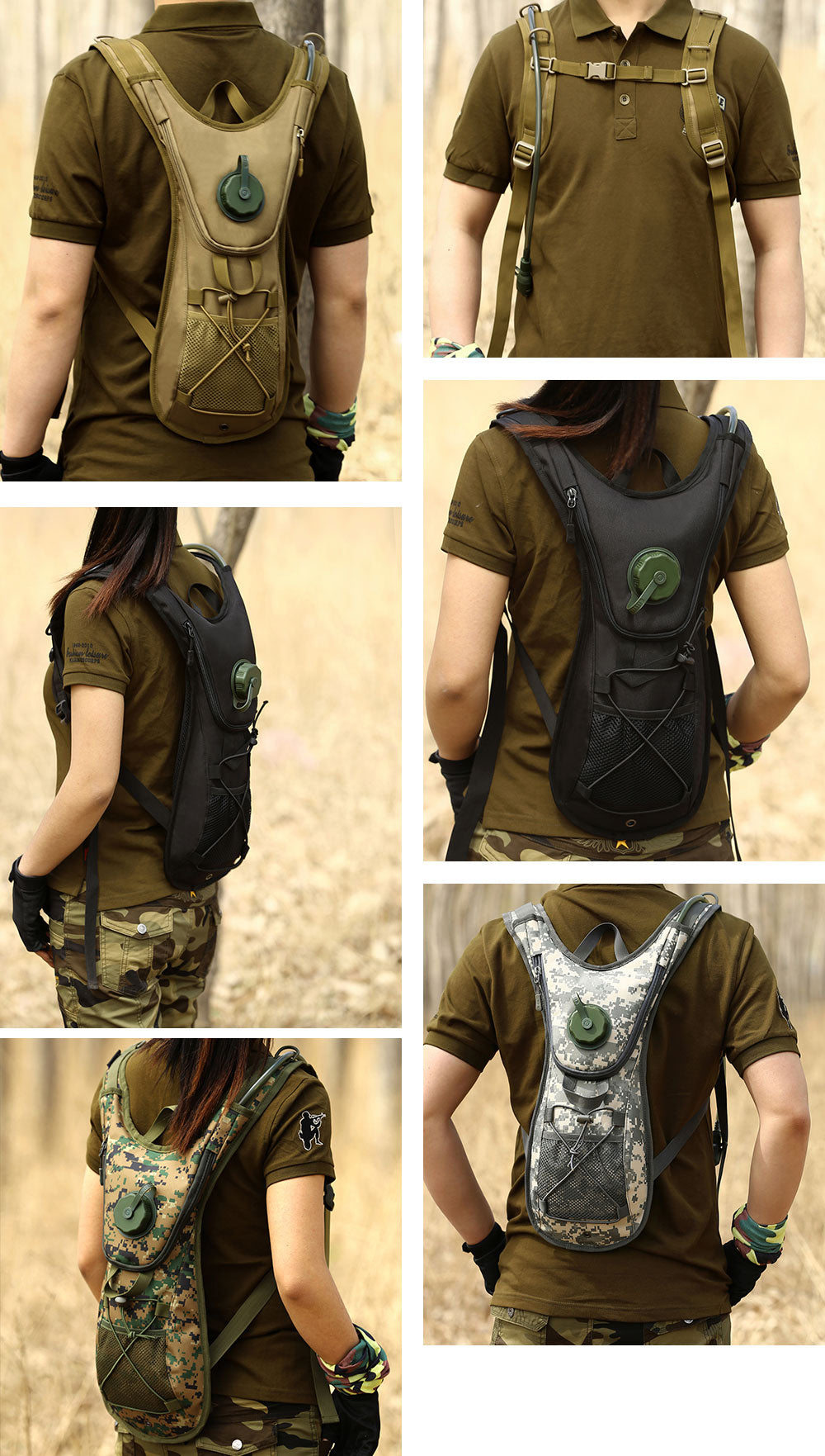 Military Tactical Hydration Backpack Water Bladder Rucksack Portable Hydration For Running Cycling Hiking Trekking - 5 Colors