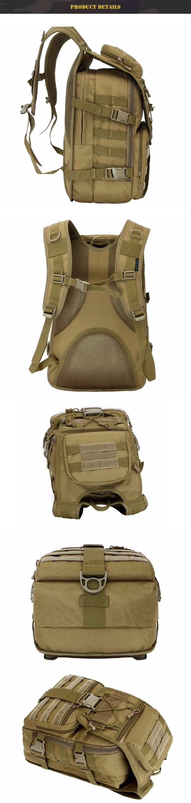 Military Tactical MOLLE Backpack For Hiking Trekking Travel - 7 Colors