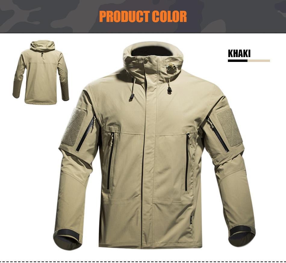 Military Tactical Technical Lightweight Winter Jacket For Men Weatherproof Breathable Hooded - in Black, Army Green & Khaki