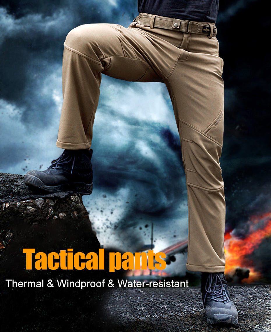 Military Tactical Winter Pants For Men Soft-Shell Weatherproof Fleece Fabric