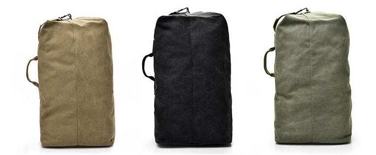 Multifunctional Military Tactical Canvas Backpack Big Army Bucket Bag Duffle Bag Travel Rucksack