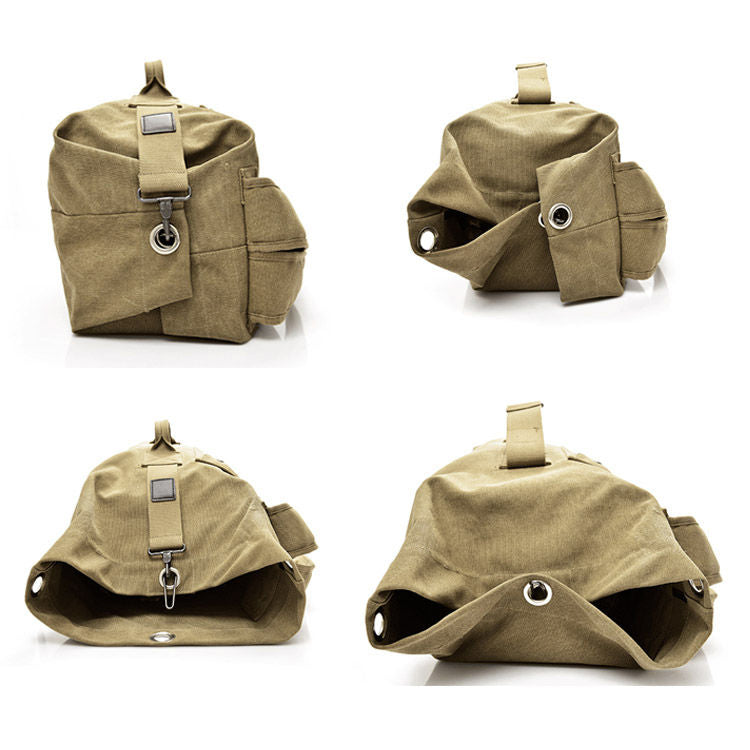 Multifunctional Military Tactical Canvas Kit Bag Army Duffle Bag Travel Rucksack - Khaki