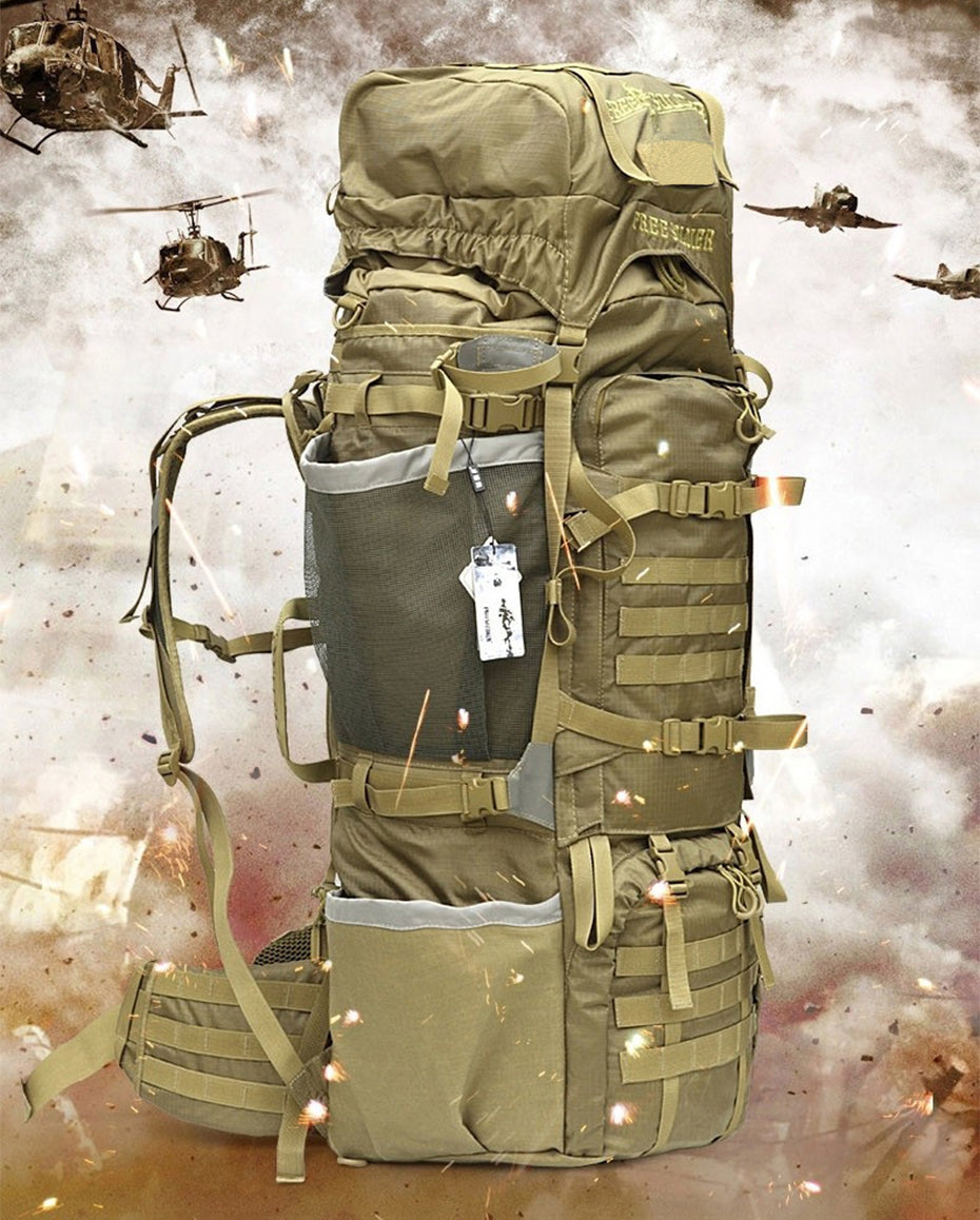 Military Tactical Expedition Size MOLLE Backpack 85L - Khaki