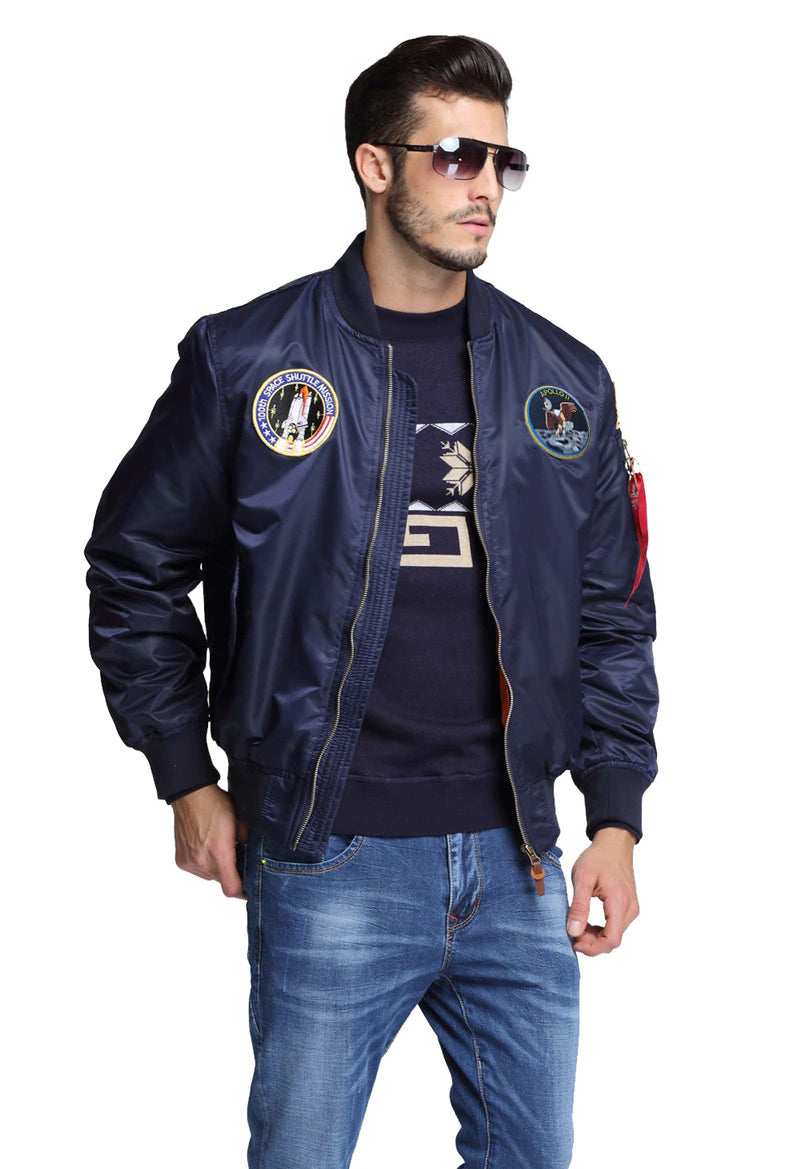 SPECIAL EDITION Apollo 100th SPACE SHUTTLE MISSION Pilot Flight Jacket US Air Force MA-1 Bomber Jacket For Men - 7 Colors
