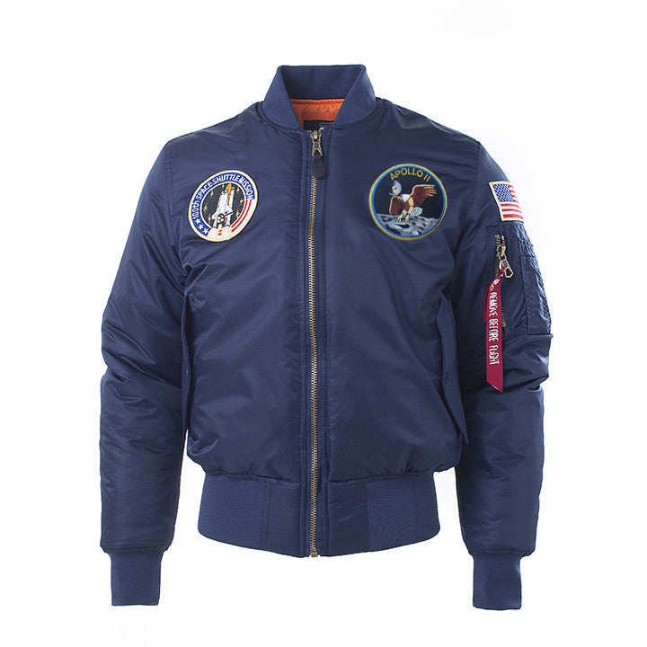 SPECIAL EDITION Apollo 100th SPACE SHUTTLE MISSION Pilot Flight Jacket US Air Force MA-1 Bomber Jacket For Men (Thick) - 7 Colors
