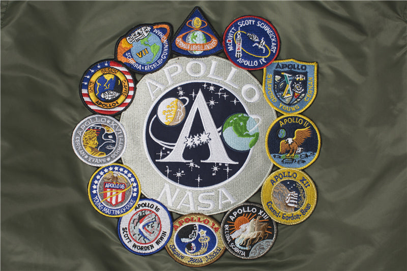 SPECIAL EDITION Apollo 100th SPACE SHUTTLE MISSION Pilot Flight Jacket US Air Force MA-1 Bomber Jacket For Men (Thin) - 7 Colors