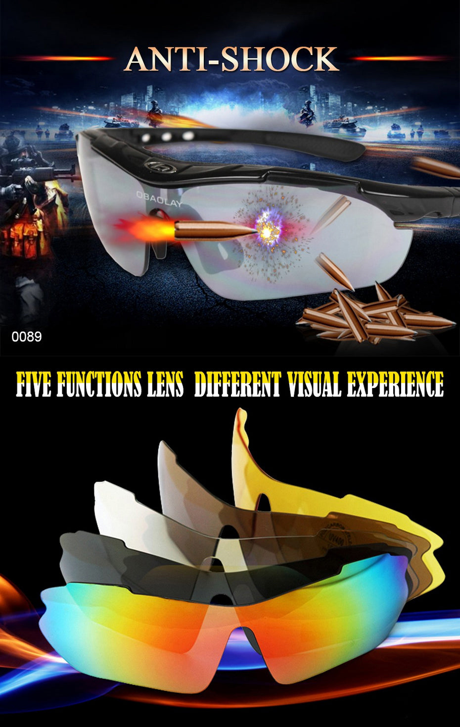 Super Vision Polarized Tactical Sunglasses For Men Includes 5 Different Lenses