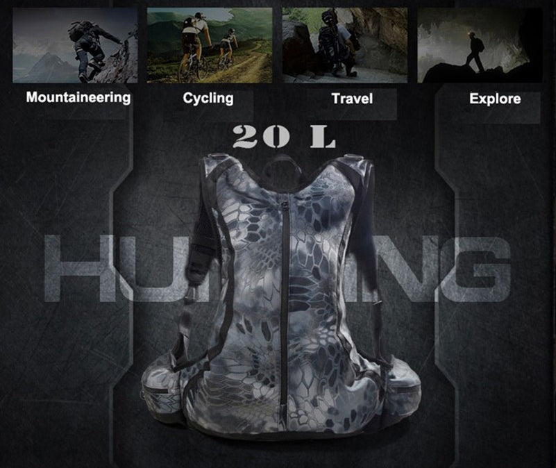 Tactical 20L Ergonomic Sports Active Backpack Camouflage Hunting Travel Trekking Cycling Rucksack - 4 Colors