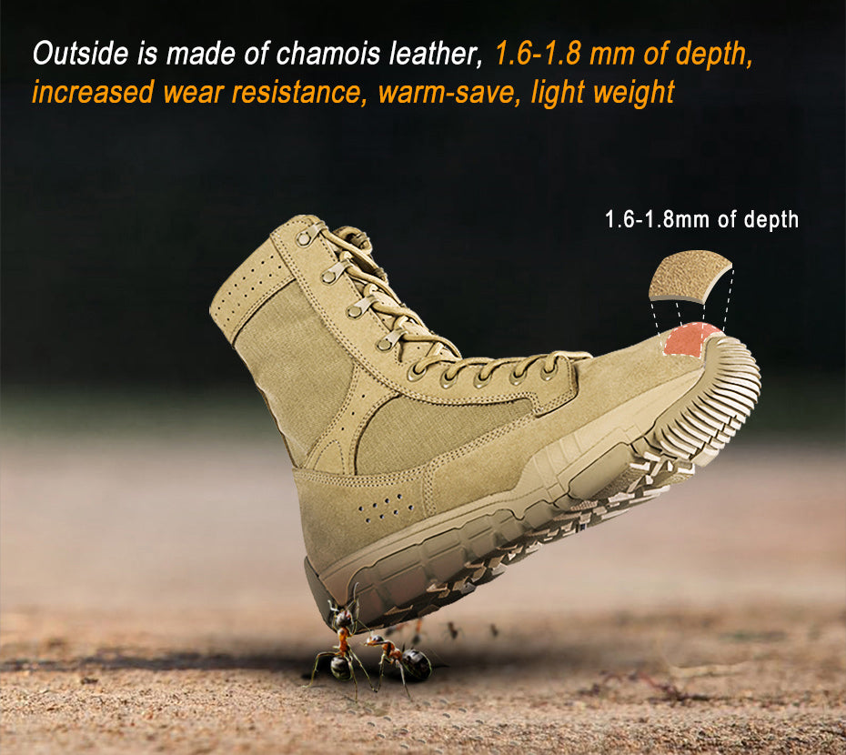 Tactical All Terrain Combat Boots For Men Multi Purpose Footwear - Sandy