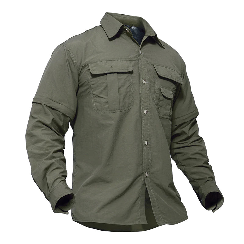 Tactical Army Military Shirt Multi-Purpose Tactical Clothing Quick Dry Breathable Tactical Shirt With Removable Long Sleeves Plus Sizes - 5 Colors