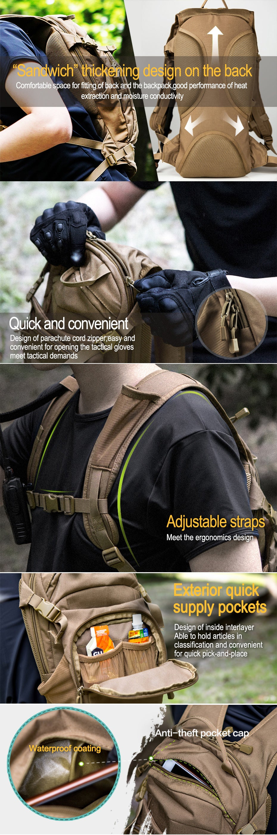 Tactical Backpack Running Bag With Built-in Water Bladder Bag Option