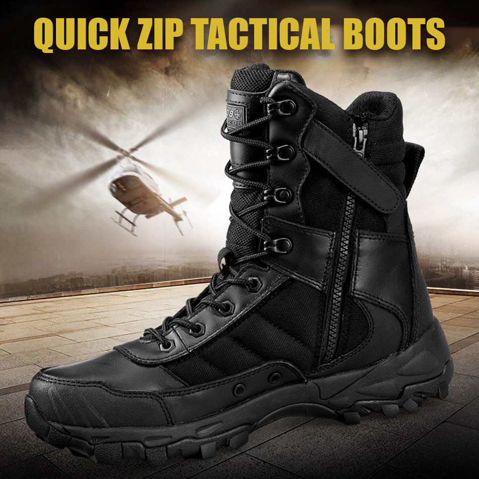 Tactical Boots For Men Lightweight Wear Resistant Military Footwear All Purpose Combat Boots Quick Zip Slip On Feature - 2 Colors