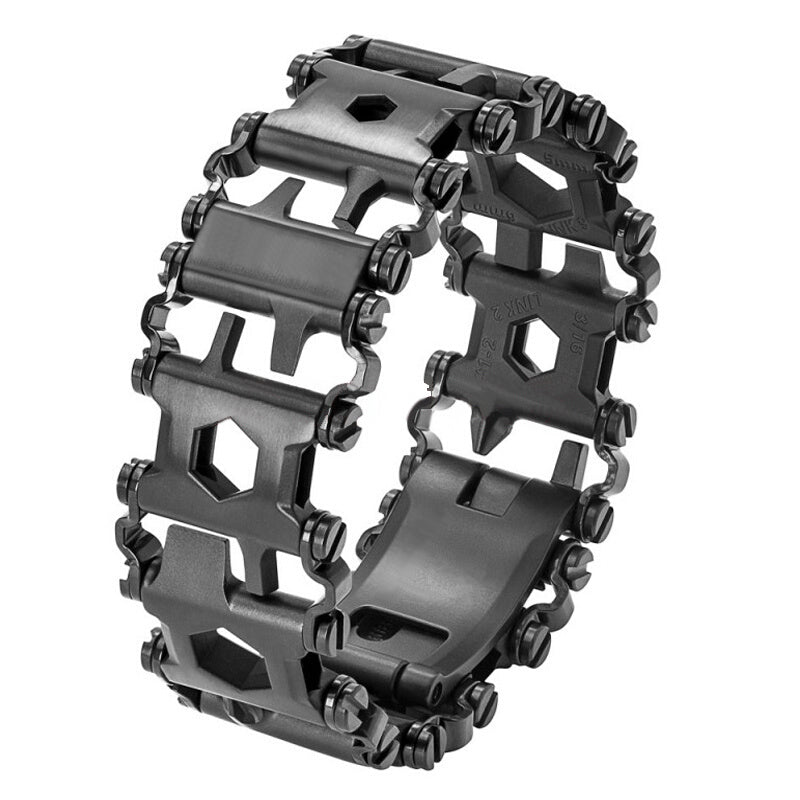 Tactical EDC Multi-Tool Multi-Function Wearable Stainless Steel Tread Bracelet Multi-Tool 29 Combinations EDC Tool - 2 Colors