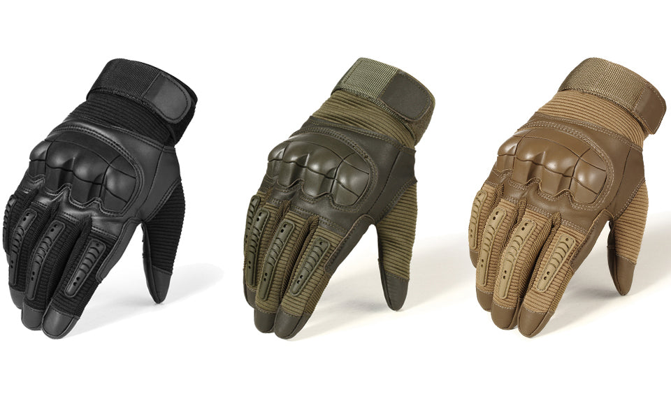 Tactical Gloves Touch-Screen Tactile Rubber Hard Knuckle Armor Full Finger Gloves For Military Army Paintball Shooting Airsoft MTB Combat PU Leather - 3 Colors
