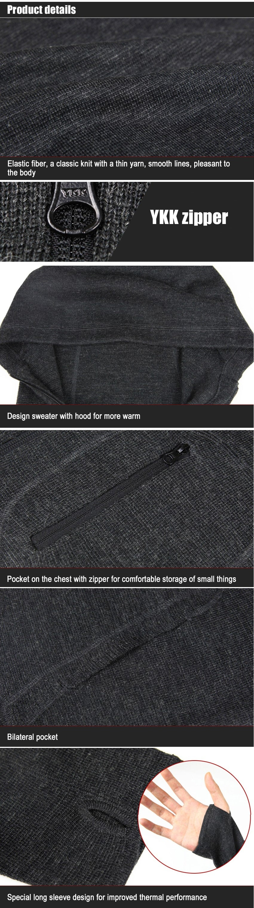 Tactical Hoodie Zipped Woollen Sweater for Men - Grey