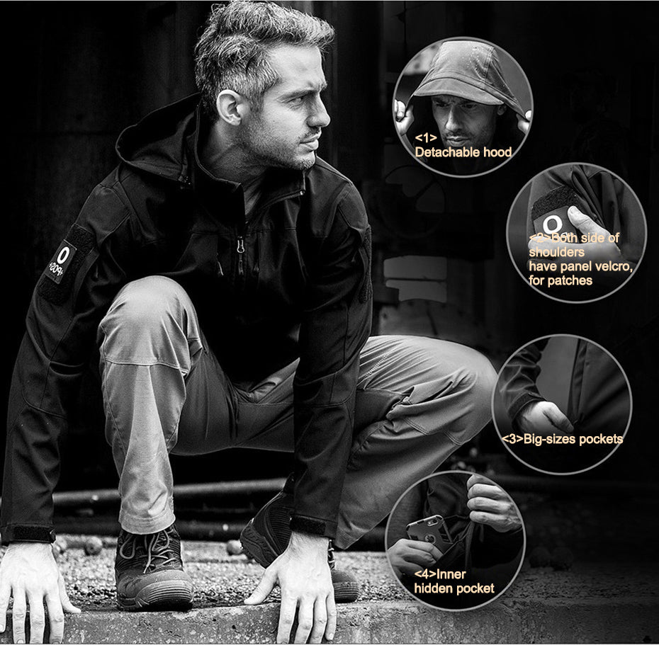 Tactical Softshell Jacket For Men Water-Resistant Windproof Warm Detachable Lining + Outer-Layer Jacket