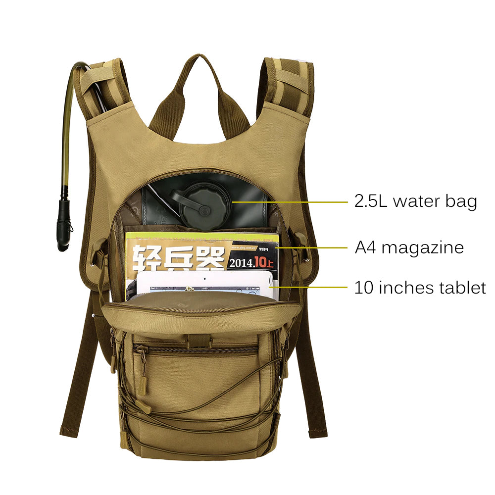 Tactical MOLLE 15L Daypack Outdoor Sport Pack Tactical Camouflage For Hiking Fishing Hunting Fits 2.5L Water Bag - 4 Colors