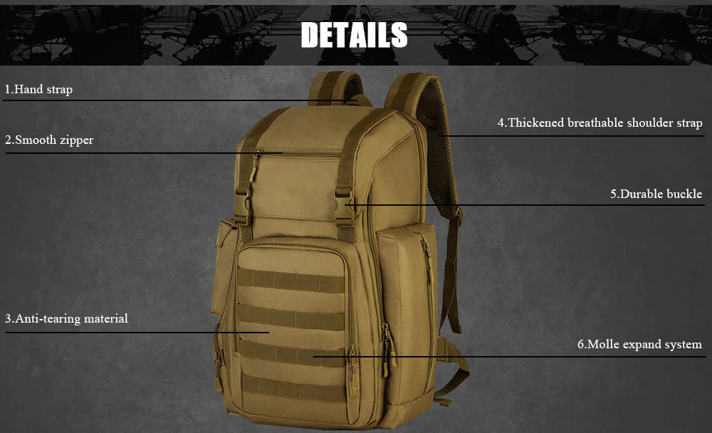 Tactical MOLLE 40L Backpack For 17 Inches laptop Army Military Tactical Sport Bag With Molle System For Camping Hiking Trekking - 6 Colors