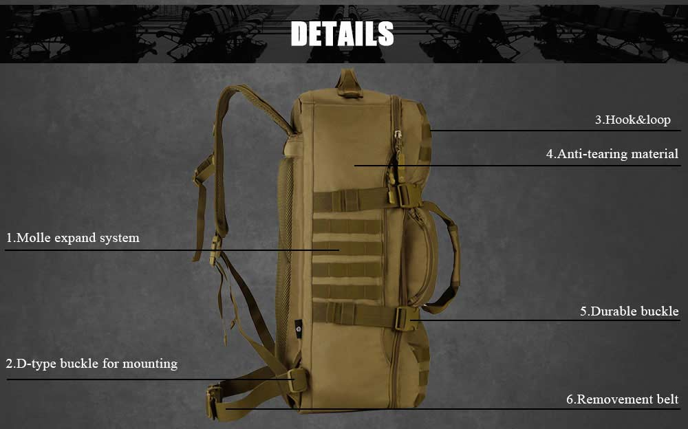 Tactical MOLLE 60L Military Backpack Multi-Purpose Travel Bag Holdall Kit Bag Backpacking Rucksack Hiking Shoulder Bag - 4 Colors