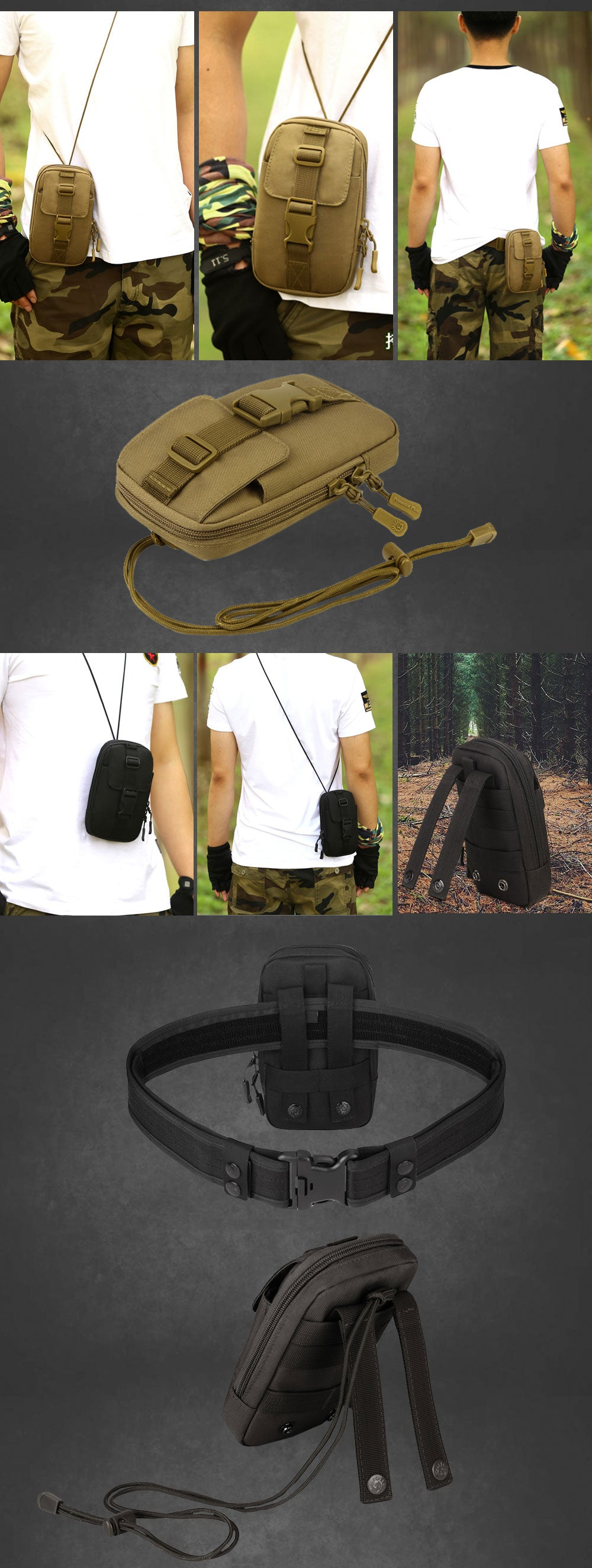 Tactical MOLLE Accessory Bag Waist Pack Travel Pouch Shoulder Bag Tactical Durable Travel Hiking Army MOLLE Pouch - 7 Colors