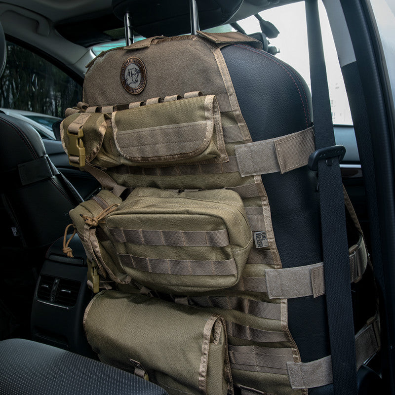 Tactical MOLLE Auto Interior Organizer Car Seat Cover With 6 Pouches ...