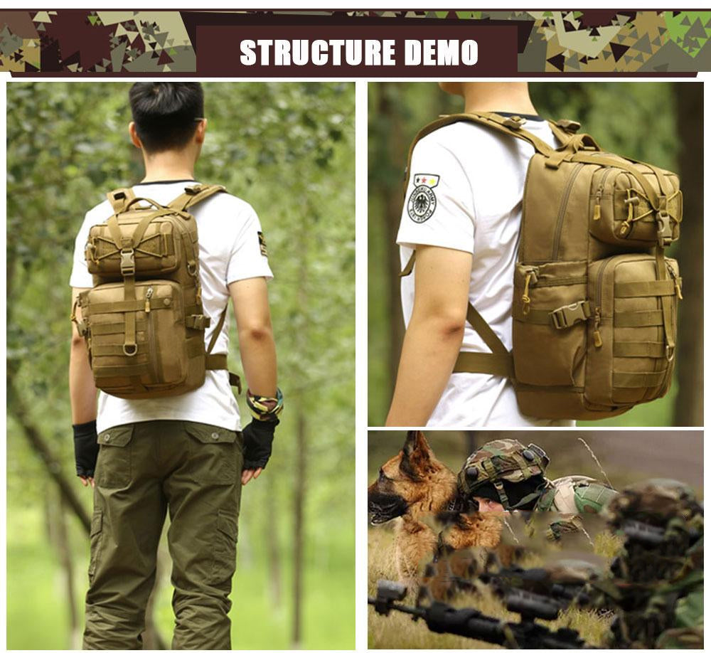 Tactical MOLLE Backpack 900D Waterproof Army Military Outdoor Activities Hiking Trekking Multi-purpose Sport Bag